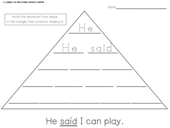 Reading Fluency Activity - Make Your Own Fluency Triangles ®: Pre-Primer Edition