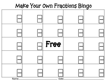 Make Your Own Fraction Bingo