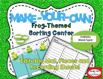 Make-Your-Own Frog Sorting Centers: Editable mat, pieces,