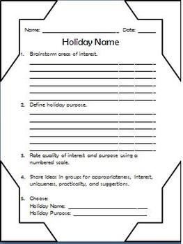 Make Your Own Holiday Day: March 26 - Creative Writing & Social Studies
