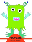 Make Your Own Monster Activity -Black and White Version
