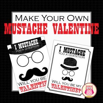 valentine card: make your own mustache valentine's day card | tpt, Ideas