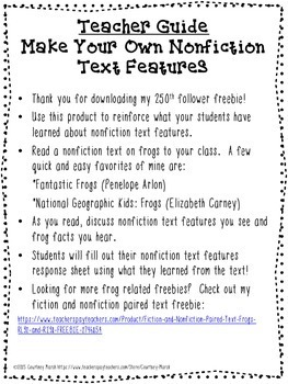 Make Your Own Nonfiction Text Features - FREEBIE RI.3.1, RI.3.5