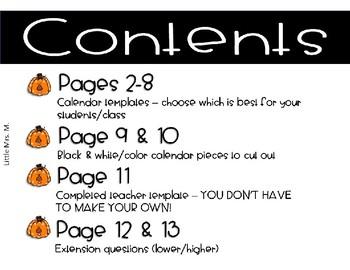 Make Your Own October Calendar! (Math Patterns)