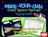 Make-Your-Own Outer Space-Themed Sorts: Editable mat, pieces, & recording sheet