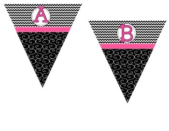 Make Your Own Pennant -Black and White Chevron/Swirl with Pink Ribbon