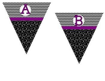 Make Your Own Pennant -Black and White Chevron/Swirl with Purple Ribbon