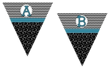 Make Your Own Pennant -Black and White Chevron/Swirl with Teal Ribbon