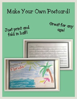 Make Your Own Postcard By Amanda Rose Resources Tpt