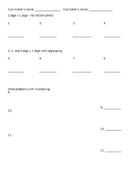 Make Your Own Quiz (1, 2, 3, 4 Digit Multiplication, regrouping, word problems)