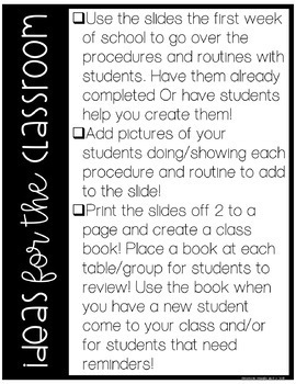Classroom Routines and Procedures Presentation and Editable Slides