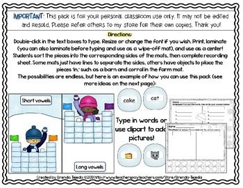 FREE: Make-Your-Own Sorting Center: Editable Mat, Pieces & Recording Sheets
