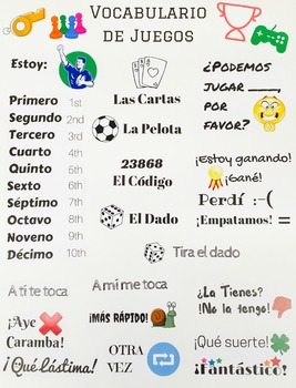 Make Your Own Spanish Gaming Vocabulary Poster