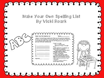 Make Your Own Spelling List Activities