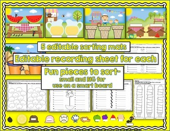 Make-Your-Own Summer-Themed Sorting Centers: EDITABLE!