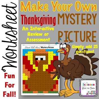 Make Your Own Thanksgiving Turkey Hidden Mystery Picture Review Worksheet