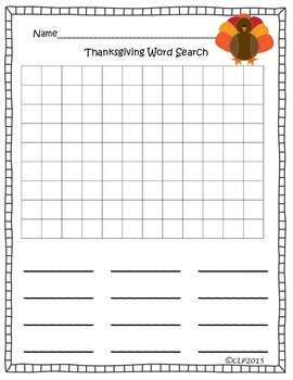 Make Your Own Thanksgiving Word Search