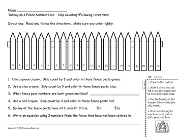 Make Your Own - Turkey Number Lines & Worksheets (Thanksgiving/Fall Themed)