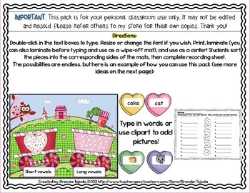 Make-Your-Own Valentine's Day Sorting Centers: Mats, Pieces & Recording Sheets!