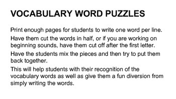 Make Your Own Word Puzzles