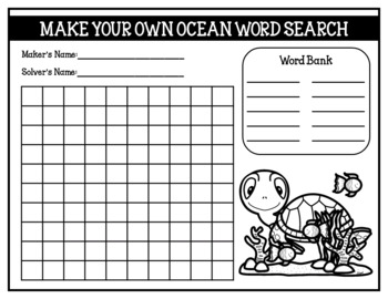 Make Your Own Word Search (Student Created Word Searches)