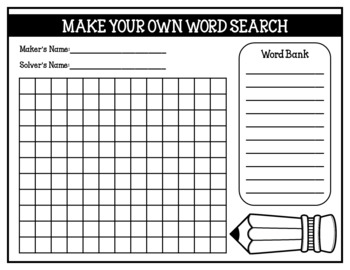 Make your own word search student created word searches for Create your own word search template