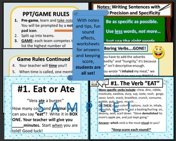GAME: Make Your Verbs Sweat! Vocabulary Booster with Activities Grade 7 - 12