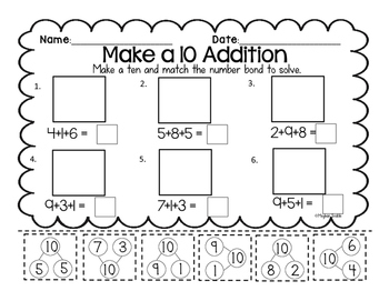 Make a 10 Addition Cut & Paste (10+ Addition) Engage New York Math Supplement