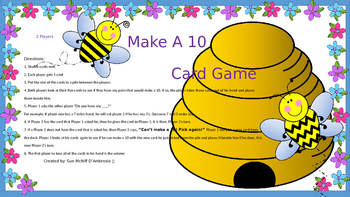 Make a 10 Bee Card Game ( Compliments of 10 )