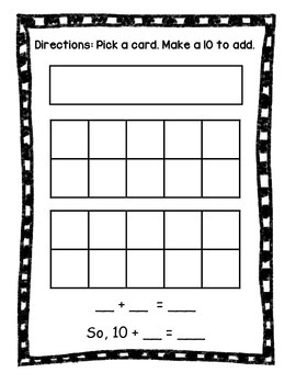 Make a 10 to Add Math Center Bilingual FREEBIE