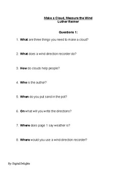 Make a Cloud, Measure the Wind Reading Comprehension Questions
