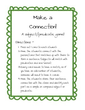 Make a Connection! A subject/Predicate Game
