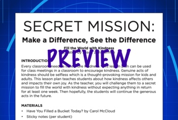Class Meeting (Make a Difference): Kindness Secret Mission (Character)