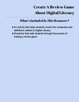 Make a Kahoot or Quizizz Review Game About Digital Literacy