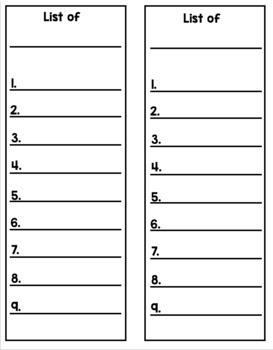 Make a List - A Daily 5 Work on Writing Activity
