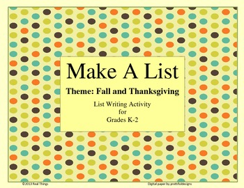 List Writing-Thanksgiving Theme