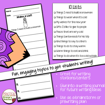 List Writing Templates for Writing Stations Winter Edition