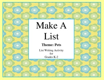 List Writing-Pets