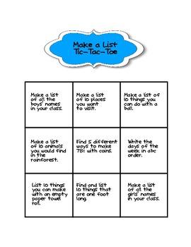 Make a List Tic-Tac-Toe