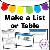 Make a List or a Table Problem Solving PowerPoint, Task Cards and Worksheet