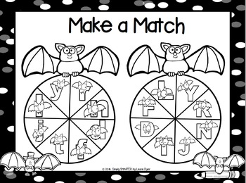 Make a Match:  NO PREP Bat Themed Letter Game