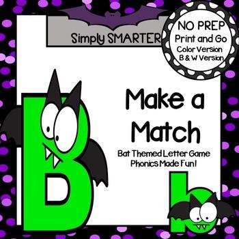 Make a Match:  NO PREP Bat Themed Letter Game
