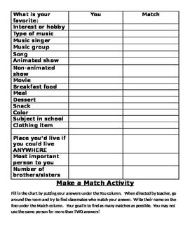 Make a Match activity