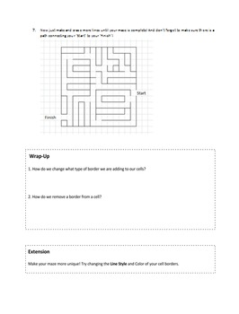Make a Maze in Excel with Borders - Activity