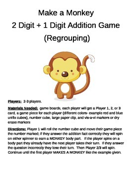 Make a Monkey  2 Digit +1 Digit Addition Regrouping Game