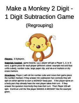 Make a Monkey  2 Digit -1 Digit Subtraction Game Regrouping