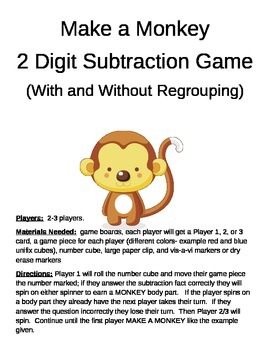 Make a Monkey 2 Digit Subtraction With and Without Regrouping Games