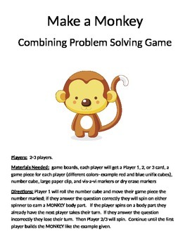 Make a Monkey Combining Word Problems 1 digit + 1 digit ad