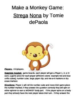 Make a Monkey Game Strega Nona by Tomie dePaola