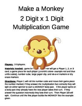 Make a Monkey  Multiplication 2 Digit x 1 Digit Game